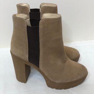 Nine west tan brown 4 1/2 inch heel platform boot